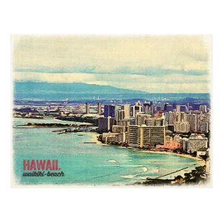 Postal Playa vieja retra de Waikiki de la isla de Hawaii