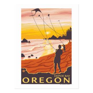 Postal Playa y cometas - bahía de Depoe, Oregon