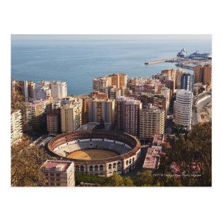 Postal Plaza de toros y puerto de Malagueta del La