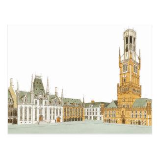 Postal Plaza del mercado. Brujas Bélgica