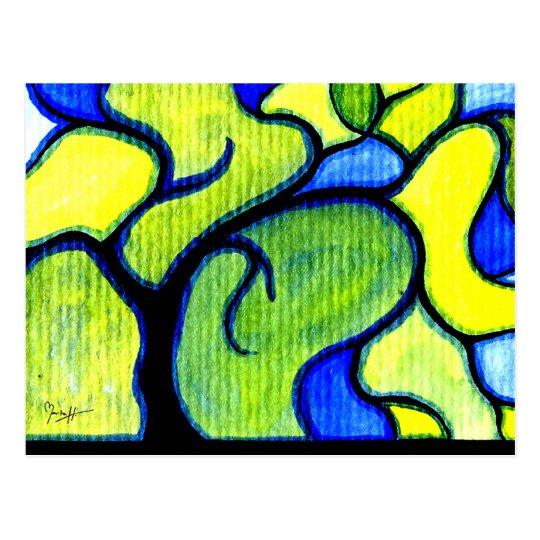 Postal Pluma de la acuarela y árbol de la tinta - sauce