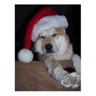 Postal Poco ayudante de Shiba-Inu de Santa