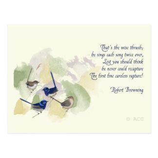 Postal Poema de Robert Browning de los pájaros de la