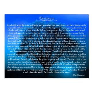 Postal Poema inspirado de los desiderátums con el árbol