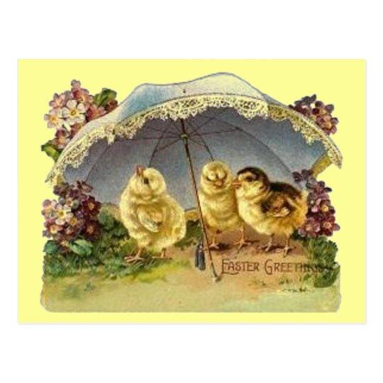 Postal Polluelos y parasol de Pascua del vintage