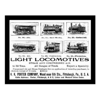 Postal Portero de H K y locomotoras de Co.Light