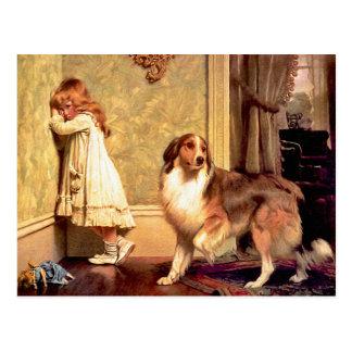 Postal Postal: Chica con el mascota Sheltie