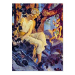 Postal Postal:  Chica con los duendes - Maxfield Parrish