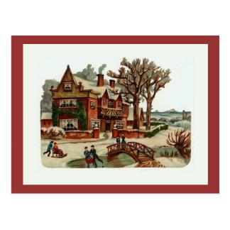 """Postal """"Postal del vintage de la escena del navidad"""""""