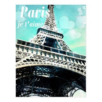 """Postal """"Postal retra de la torre Eiffel del t'aime del je"""