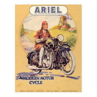 Postal Poster de la motocicleta del vintage