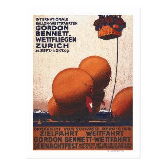 Postal Poster de la raza del globo de aire caliente de