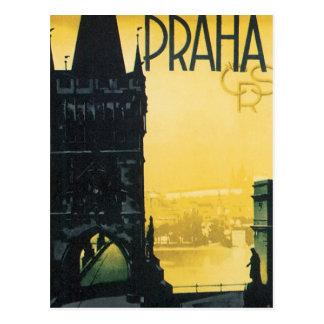 Postal Poster de Praga del vintage