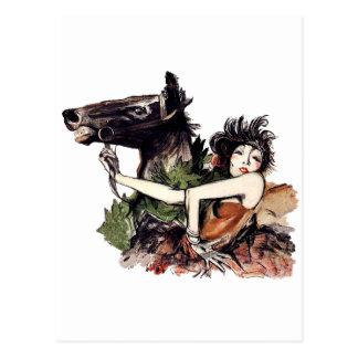 Postal Poster del caballo de la época de la belleza del