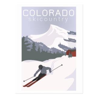 Postal Poster del esquí del vintage