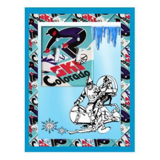 Postal Poster del esquí del vintage, esquí Colorado