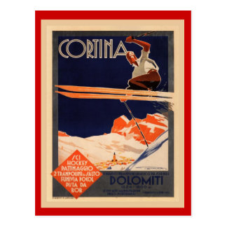 Postal Poster del esquí del vintage, Italia, cortina de