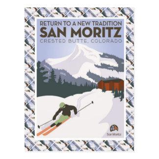 Postal Poster del esquí del vintage, mota con cresta de