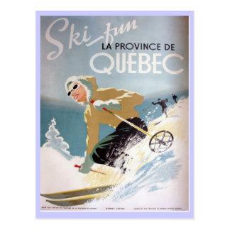Postal Poster del esquí del vintage, Quebec