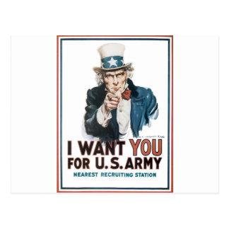 Postal Poster del tío Sam, América. Le quiero para…