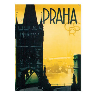 Postal Poster del viaje de la multa de Praga del vintage