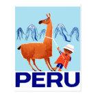 Postal Poster del viaje de Perú del niño y de la llama