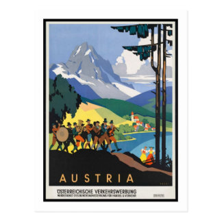 Postal Poster del viaje del vintage, Austria