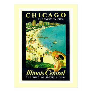 Postal Poster del viaje del vintage, Chicago, Illinois