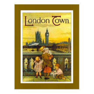 Postal Poster del viaje del vintage, ciudad de Londres,