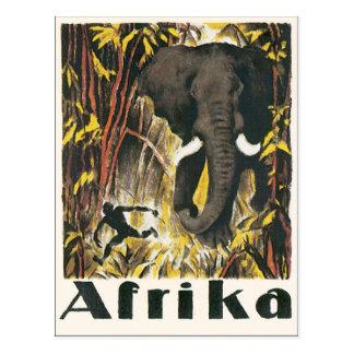 Postal Poster del viaje del vintage de Afrika