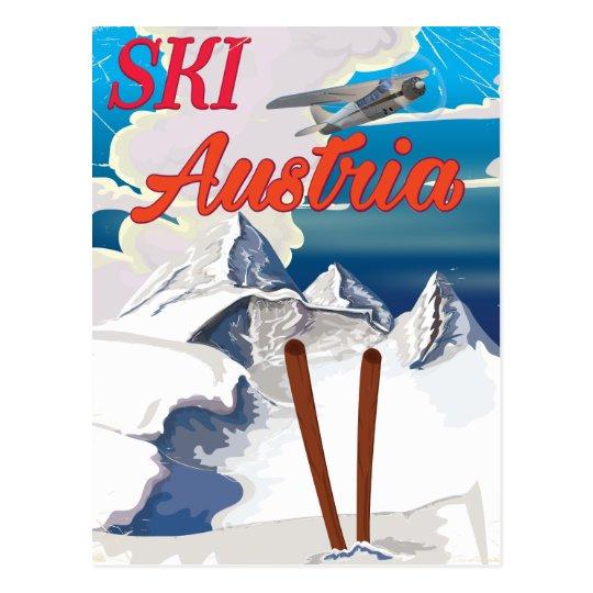 Postal Poster del viaje del vintage de Austria del esquí