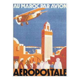 Postal Poster del viaje del vintage de Avion del par de