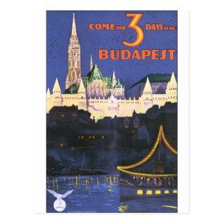 Postal Poster del viaje del vintage de Budapest