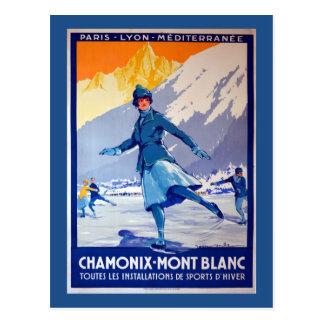 Postal Poster del viaje del vintage de Chamonix, Suiza