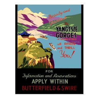 Postal Poster del viaje del vintage de China Yangtsze