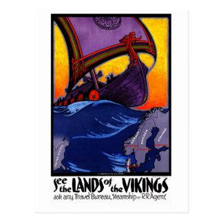 Postal Poster del viaje del vintage de Escandinavia