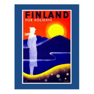Postal Poster del viaje del vintage de Finlandia