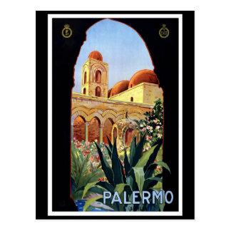 """Postal Poster del viaje del vintage de """"Palermo"""""""