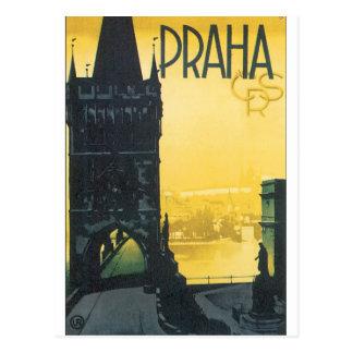 Postal Poster del viaje del vintage de Praga