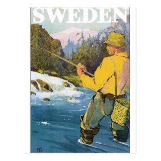 Postal Poster del viaje del vintage de Suecia