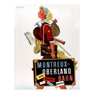 Postal Poster del viaje del vintage de Suiza