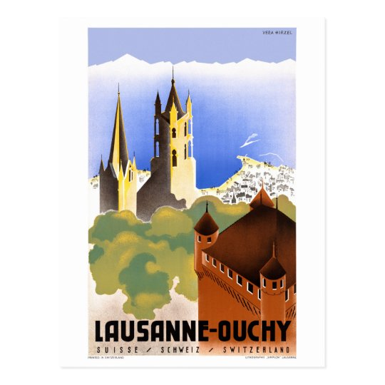 Postal Poster del viaje del vintage de Suiza Lausanne