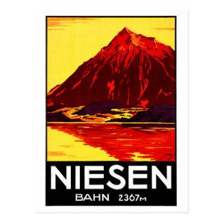 Postal Poster del viaje del vintage de Suiza Niesen