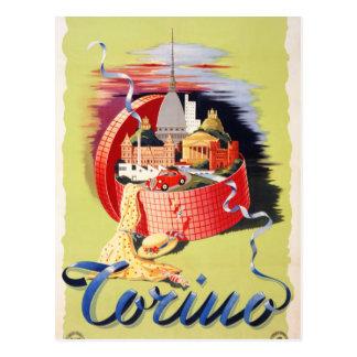 Postal Poster del viaje del vintage de Torino Turín