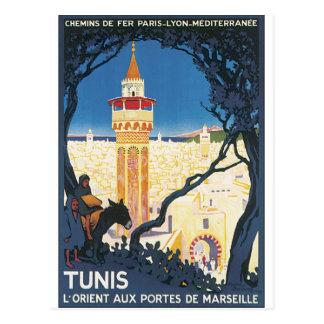 Postal Poster del viaje del vintage de Túnez