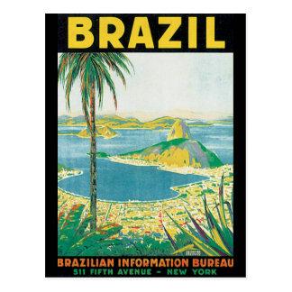 Postal Poster del viaje del vintage del Brasil