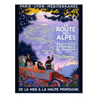 Postal Poster del viaje del vintage del DES Alpes de la