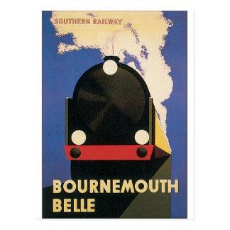 Postal Poster del viaje del vintage del tren de la