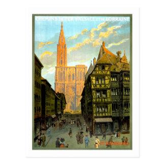 Postal Poster del viaje del vintage, Estrasburgo