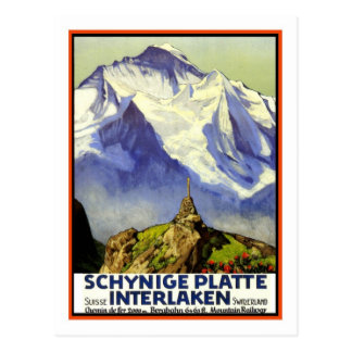 Postal Poster del viaje del vintage, Interlaken